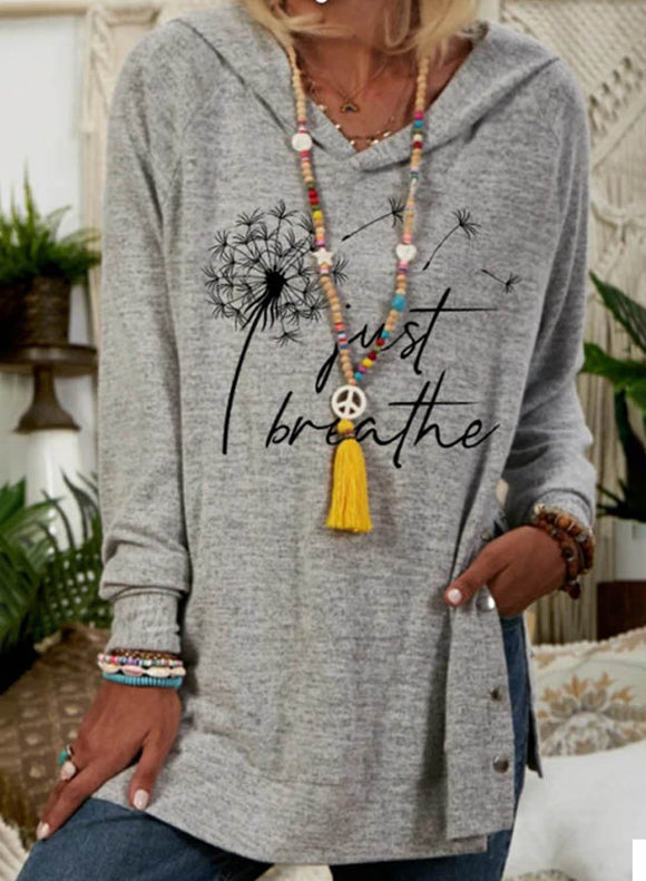 Women's Sweatshirts Gray Floral Hooded Tunic Long Sleeve Sweatshirt