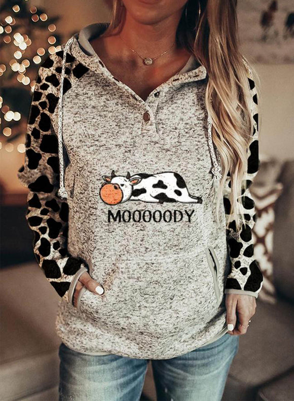 Women's Solid Color Animal Print Casual Pocket Hoodie