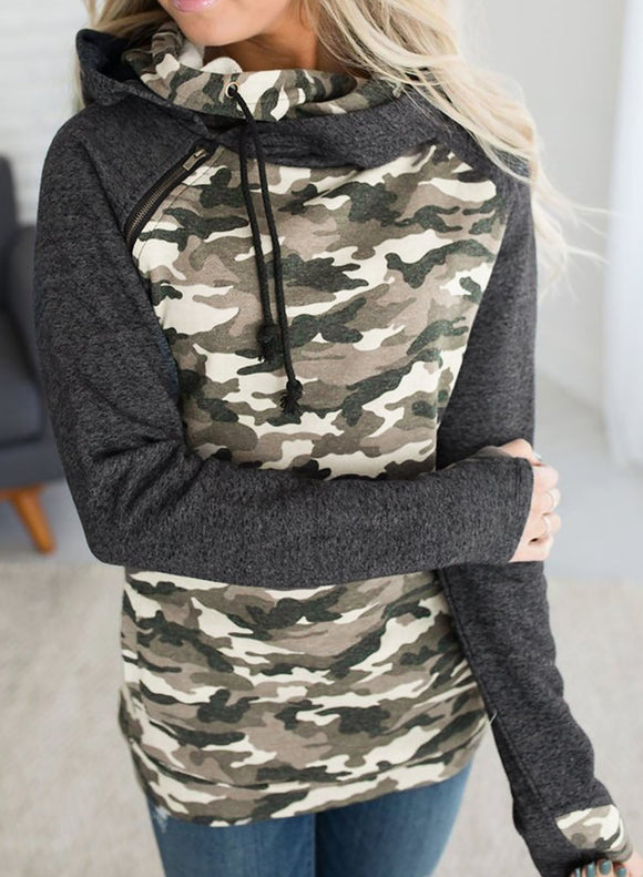 Camouflage Long Sleeve Hooded Sweatshirt