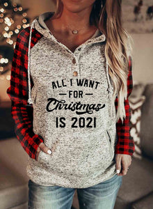 Women's Hoodies Christmas Plaid Color-block Long Sleeve Hoodie