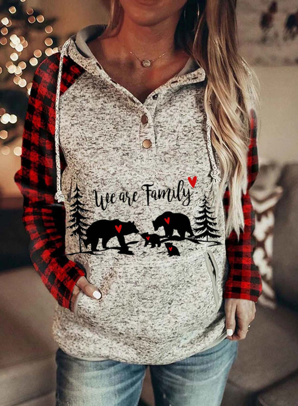 Women's Hoodies Christmas Drawstring Long Sleeve Plaid Hoodies With Pockets