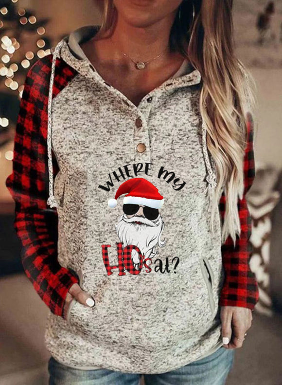 Women's Hoodies Christmas Drawstring Long Sleeve Plaid Solid Hoodies With Pockets