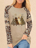 Women's Leopard Print Christmas Tree Print Casual Top