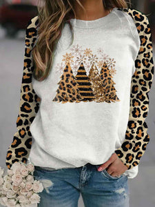 Ladies Leopard Print Christmas Tree Sweatshirt