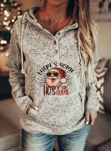 Women's Hoodies Christmas Print Long Sleeve Button Pocket Hoodie