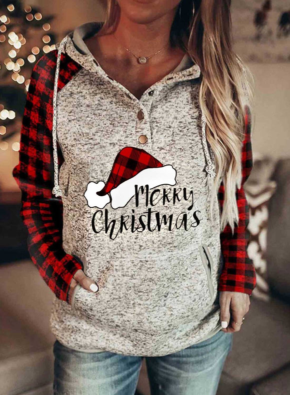 Women's Hoodies Christmas Long Sleeve Solid Plaid Hoodies With Pocket