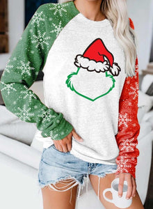 Women's Sweatshirts Christmas Print Color-block Long Sleeve Round Neck Sweatshirt