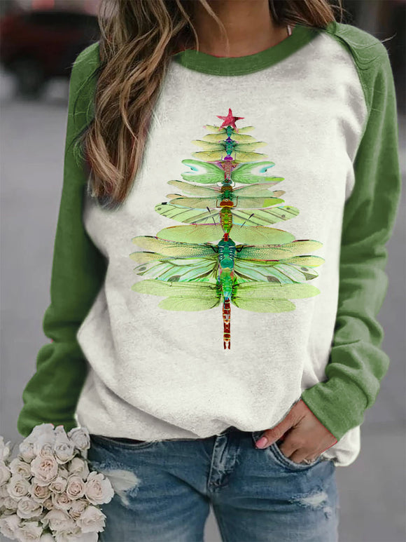 Ladies Dragonfly Christmas Tree Sweatshirt