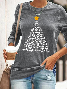 Women's Dog's Paw Christmas Tree Printed Casual T-shirt