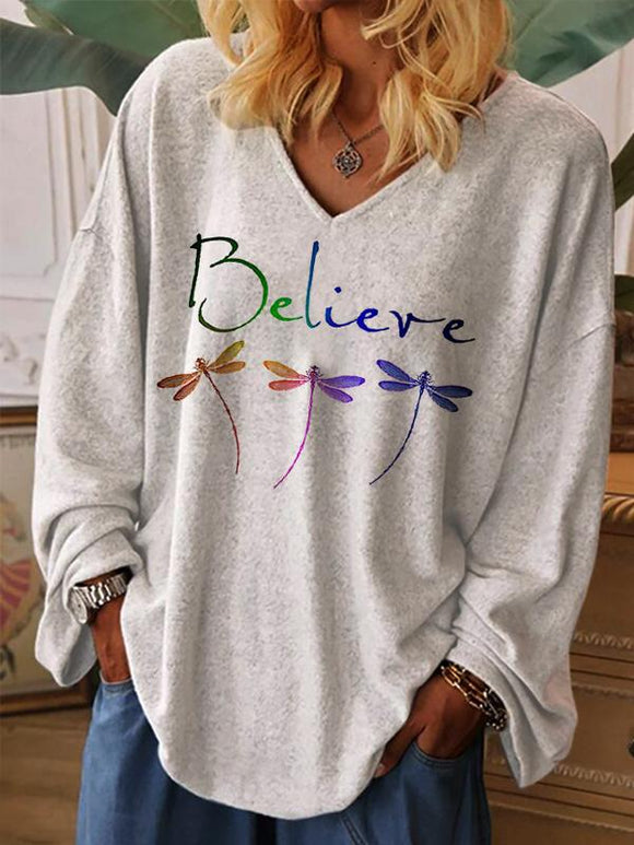 Dragonfly Believe Print Casual V-Neck Long Sleeve T-Shirt