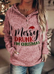 Women's Hoodies Christmas Drawstring Long Sleeve Letter With Pockets Hoodie
