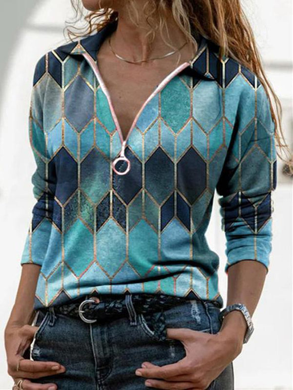 Women's Plaid Print V-Neck Zip-up Casual  Top