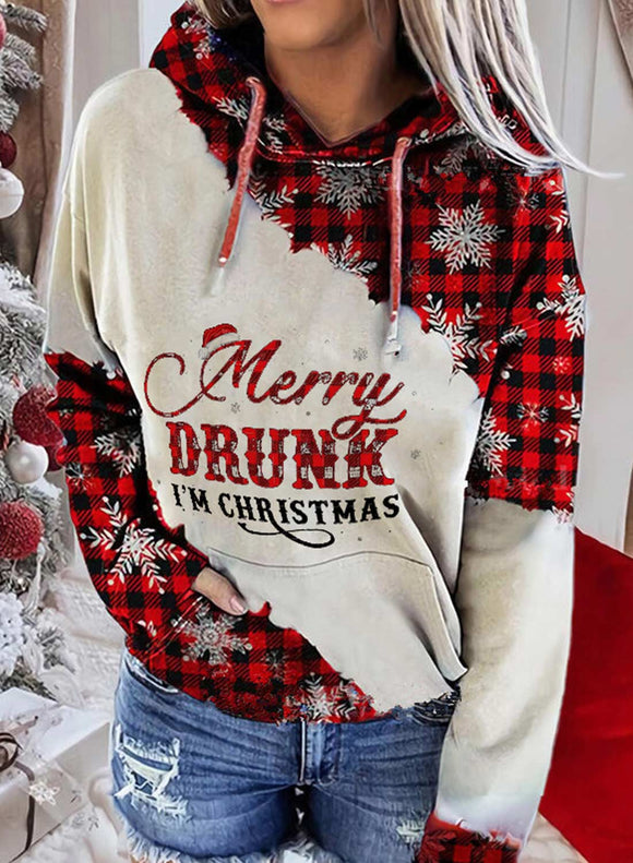 Women's Hoodies Christmas Drawstring Long Sleeve Color Block Plaid Hoodies With Pockets