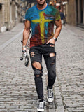 Men's Faith Jesus Cross Oil Painting Print Short Sleeves T-shirt