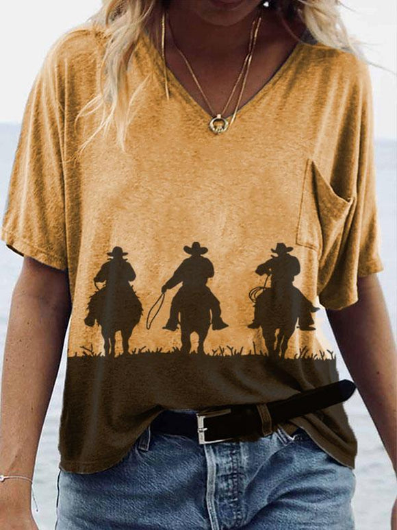 Ladies western style horse riding silhouette V-neck pocket T-shirt