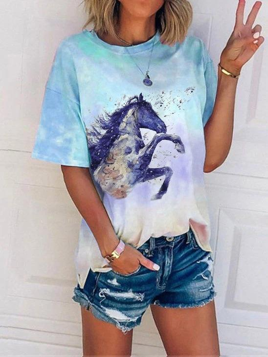 Ladies Horse Head Print Tie-dye T-shirt