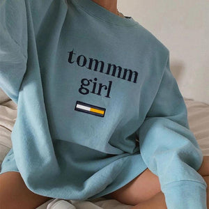 Women's Fashion Loose Round Collar Long Sleeves Sweatshirt
