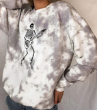 TIE-DYE SKULL PRINTED LONG-SLEEVED