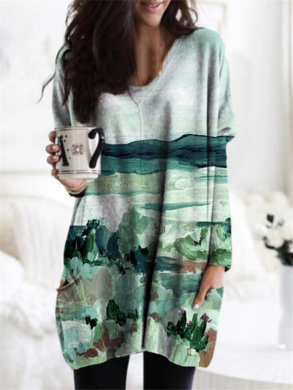 Scenic Mountain Print Long Sleeved  casual T-shirt