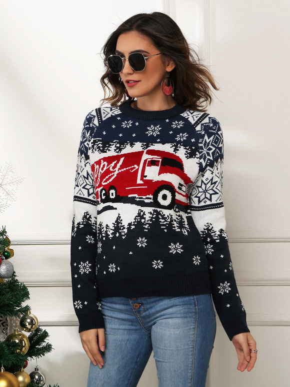 Women's Casual Christmas Snowflake Ladies Pullover