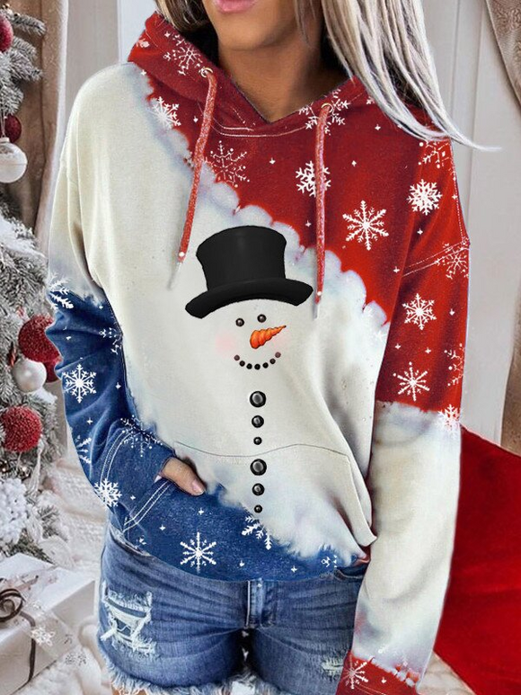 Women's Snowman Print Contrast Color Long Sleeve Tie-Dye Hoodie