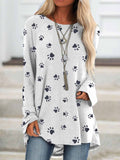 Women's Paw Print Long Sleeve Top