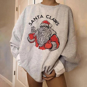 Women'S Christmas Santa Claus Santa Claws Letter Pattern Sweatshirt