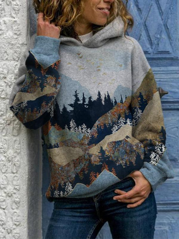 Ladies Mountain Treetop Print Hooded Sweatshirt