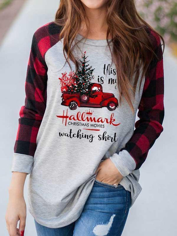 Hallmark Watching Shirt Plaid Splicing T-Shirt