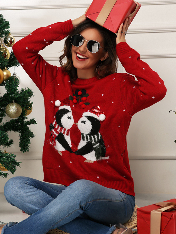 Women's Casual Little Penguin Jacquard Loose Pullover Christmas Sweater