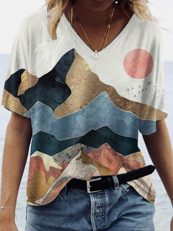 Women's Golden Peaks Art Illustration T-shirt