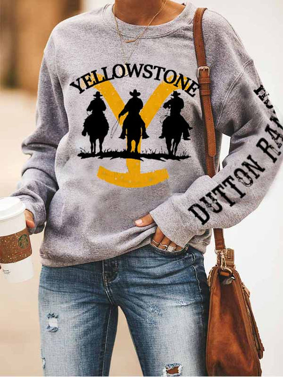 Women's round neck loose printed long-sleeved sweater