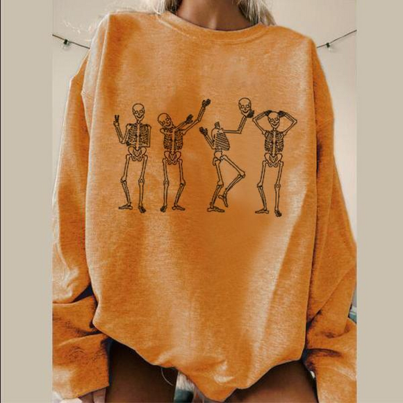 Funny skeletons dancing printed sweatshirt