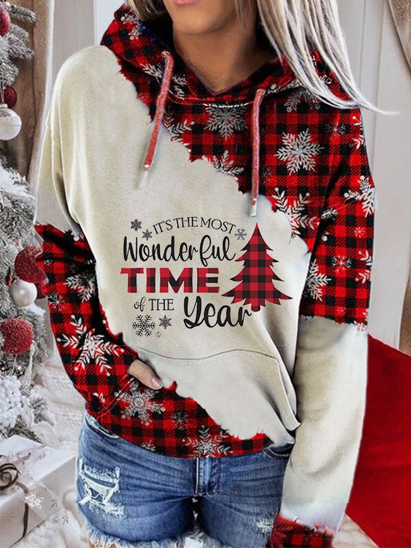 Ladies' Christmas print casual hoodie