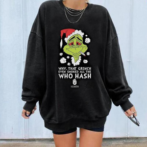 Christmas cartoon character smoking printed sweatshirt