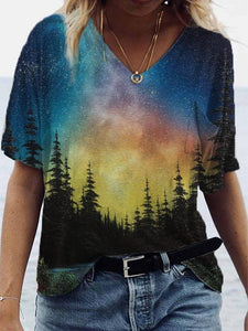 Ladies Treetop Night Sky Print Pocket T-shirt