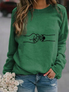 Fist and Dog's Paw Print Cozy Sweatshirt