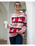Women's Casual Loose Snowflake Fawn Jacquard Pullover Sweater