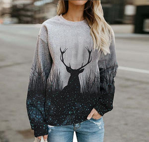 Casual crew neck forest elk print sweatshirt