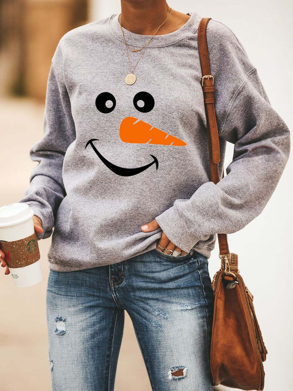 Christmas Snowman Face Super Cozy Sweatshirt