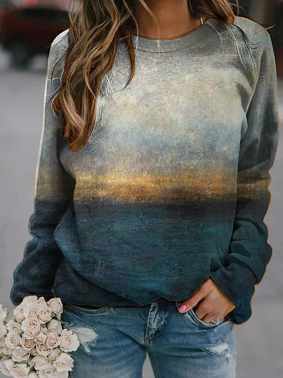 Scenery printed crew neck casual sweatshirt
