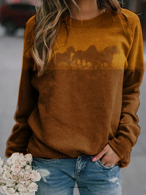 Horse Print Long Sleeve Sweatshirt