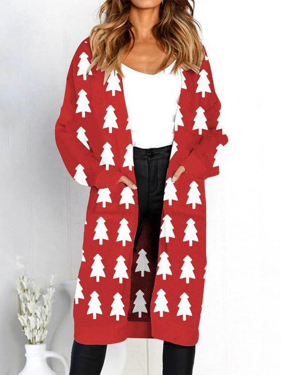 Women's Christmas Tree Print Pocket Knit Jacket Cardigan