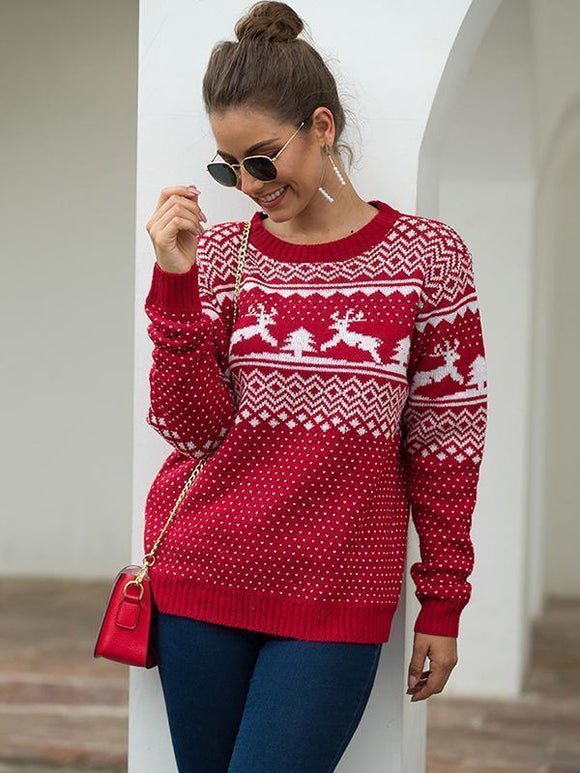 Women's Casual Round Neck Long-Sleeved Pullover Christmas Deer Knitted Sweater