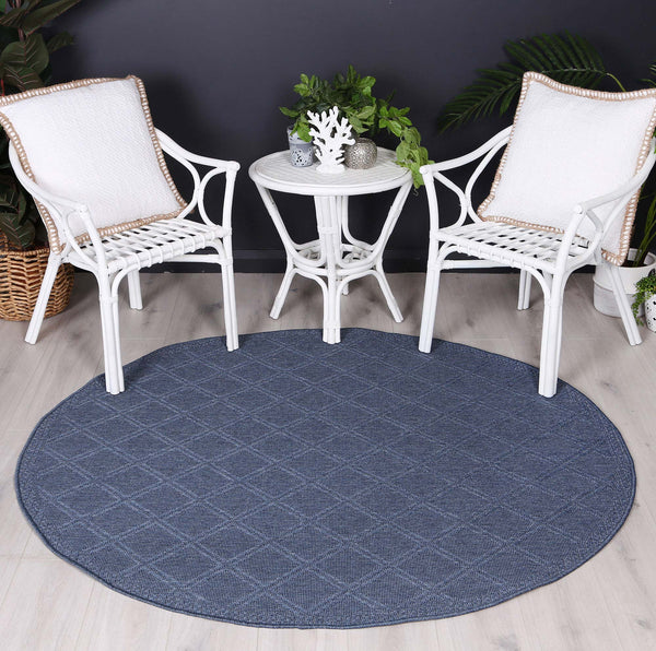 Sydney Navy Blue Diamond Indoor Outdoor Rug