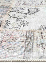 Distressed Vintage Blush Grey Patch Rug