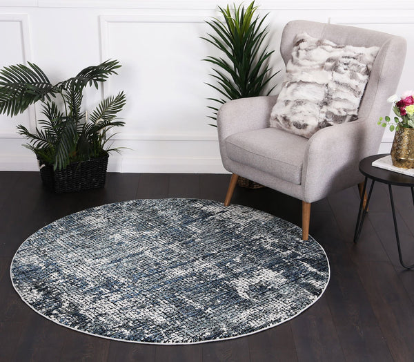 Roman Mosaic Solid Grey Turquoise Round Rug