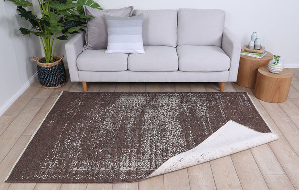 Rustic Vintage Distressed, Amazing 2 In 1 Reversible Rug Beige