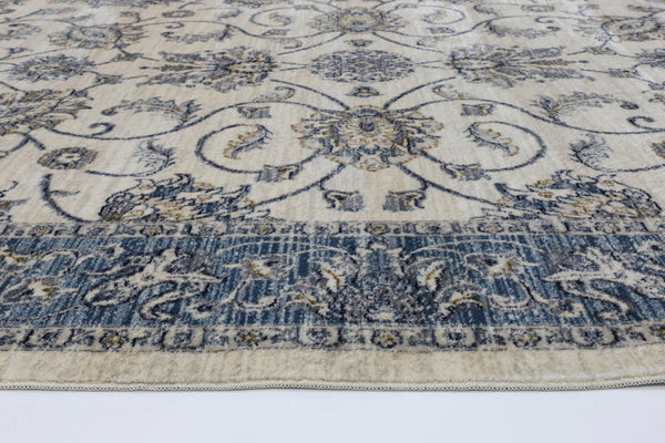Atlanta Vintage Cream Blue Boarder Rug