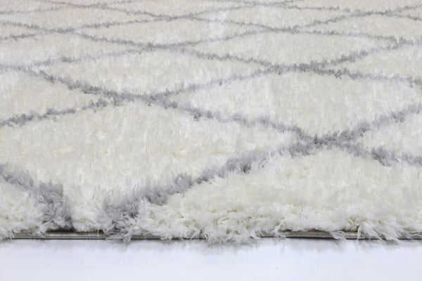 Moroccan Diamond Rug Cream Silver